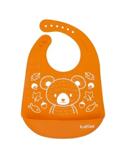 Bavoir silicone orange – Kushies