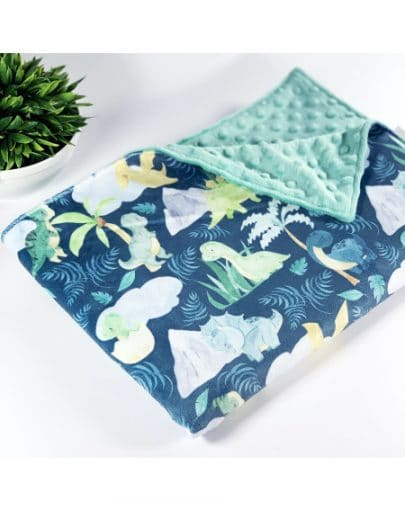 DINOS VERTS – Couverture minky – Oops